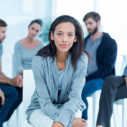 Woman in recovery group