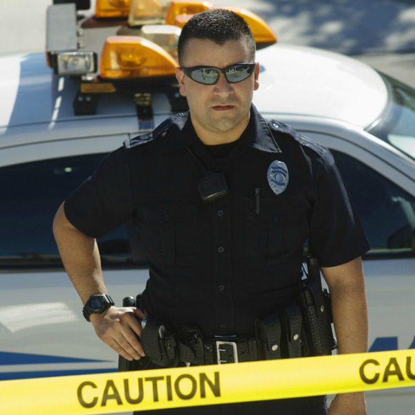 Police officer with patrol car