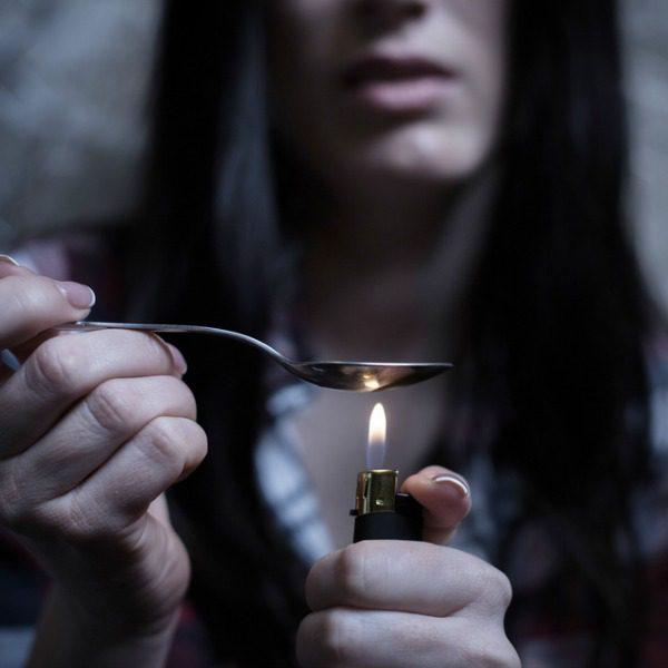 Heating heroin in a spoon