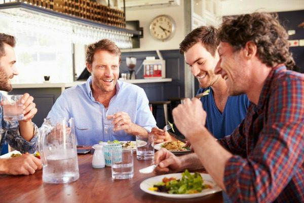 Men eating lunch