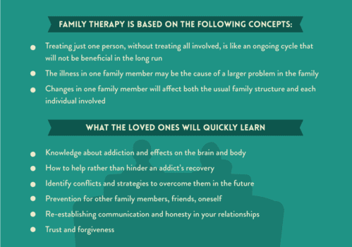 Family support and wellness can play a major role in the recovery of an addicted person. Families can help their loved ones by seeking support of their own in the form of family therapy, support groups, and individual counseling.