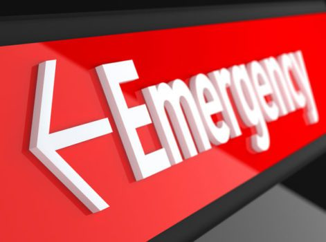 Red emergency room sign with arrow pointing left