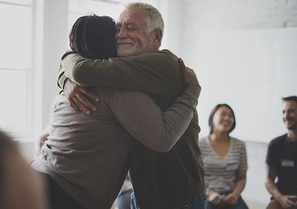 Counseling group hug