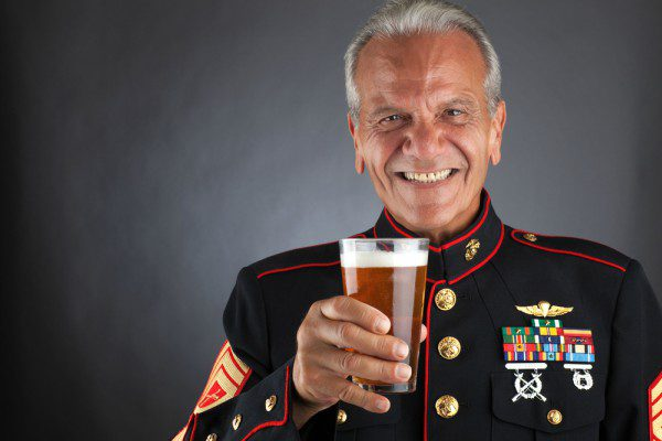 Marine holding beer