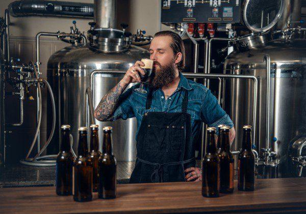 Brewmaster tasting beer