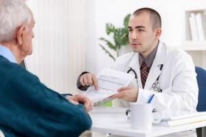 Man at doctor for drug abuse
